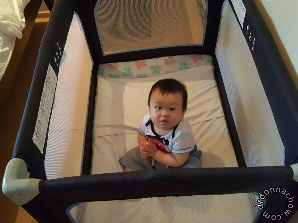 Inside baby cot
