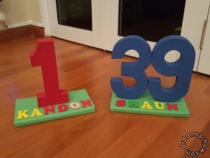 Painted number stands. From Artfriend.