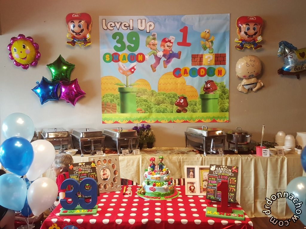 The birthday party setup