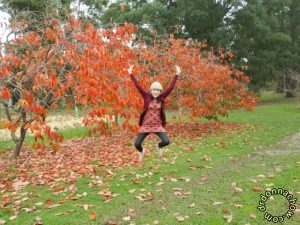 Me catching berries at the farm
