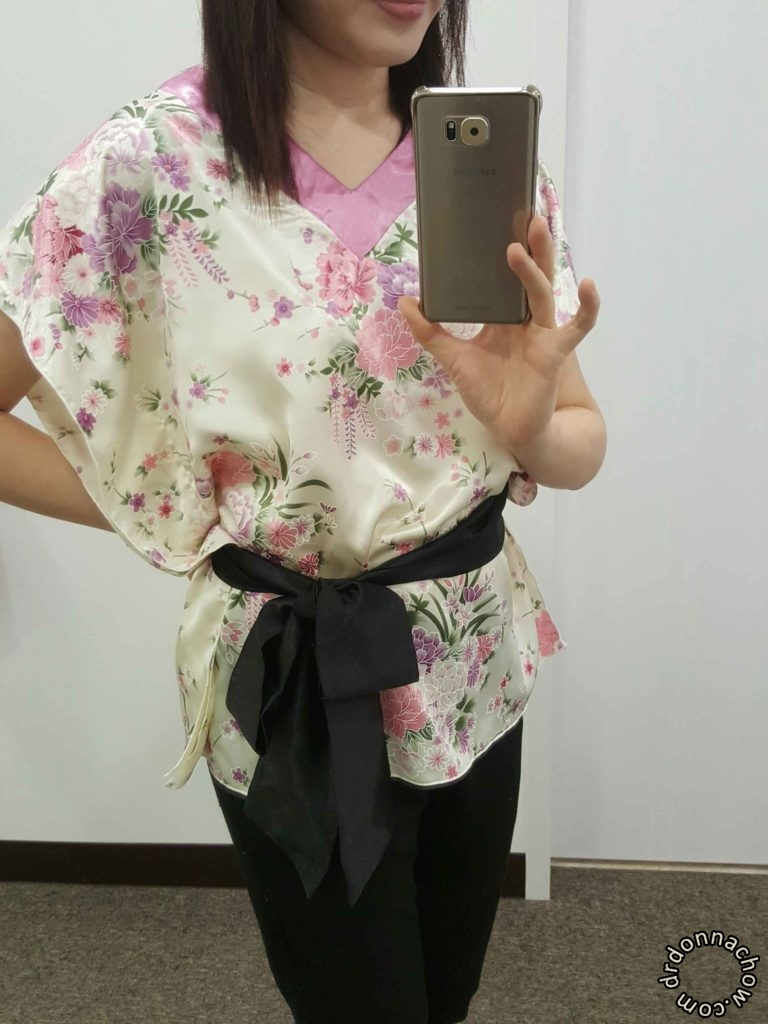 The completed square silk blouse