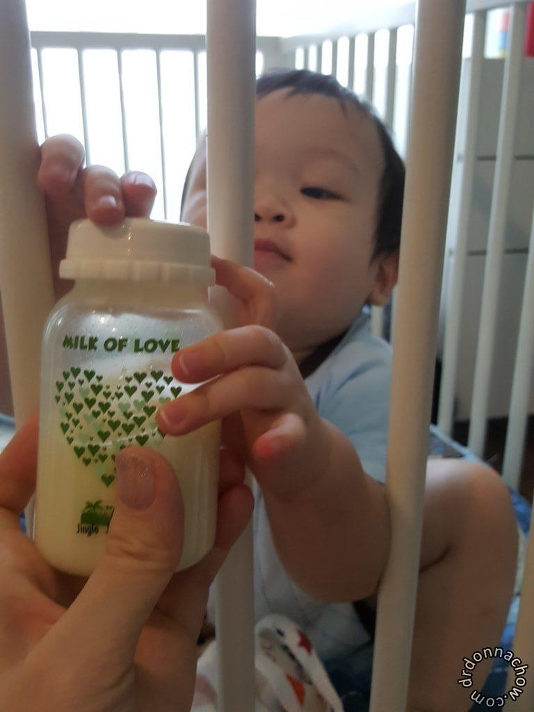My boy enjoying his milk