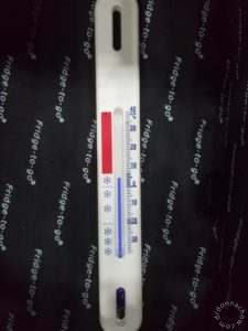 The thermometer reading after I cleared the bags