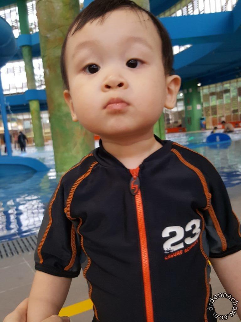 The little man in swim suit
