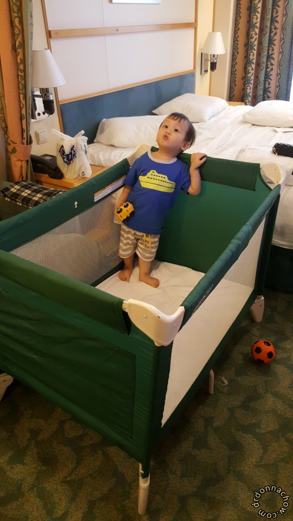 His baby cot