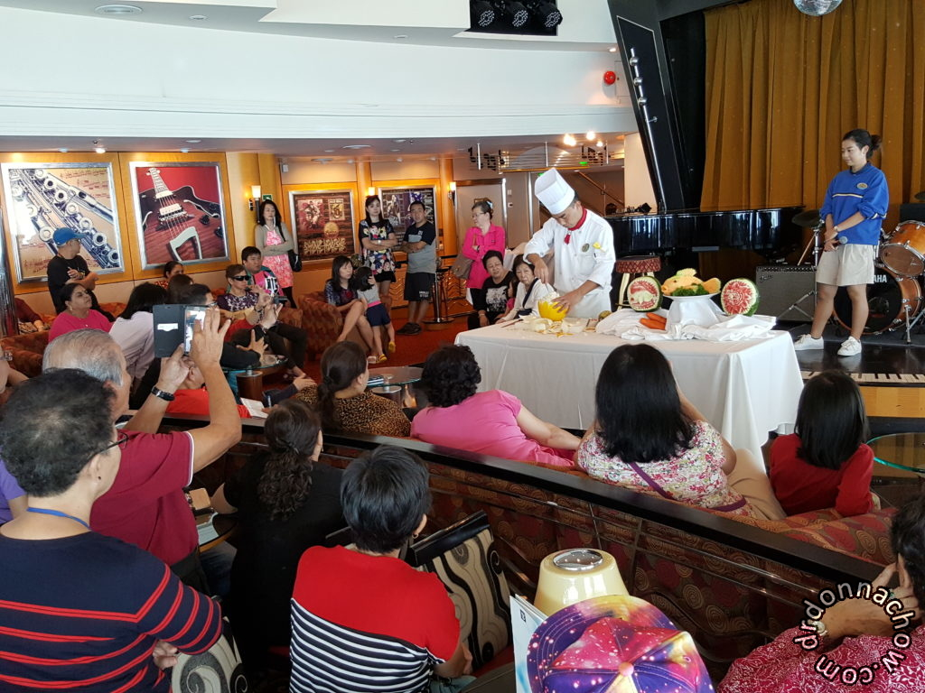Fruit carving demo on Royal Carribean