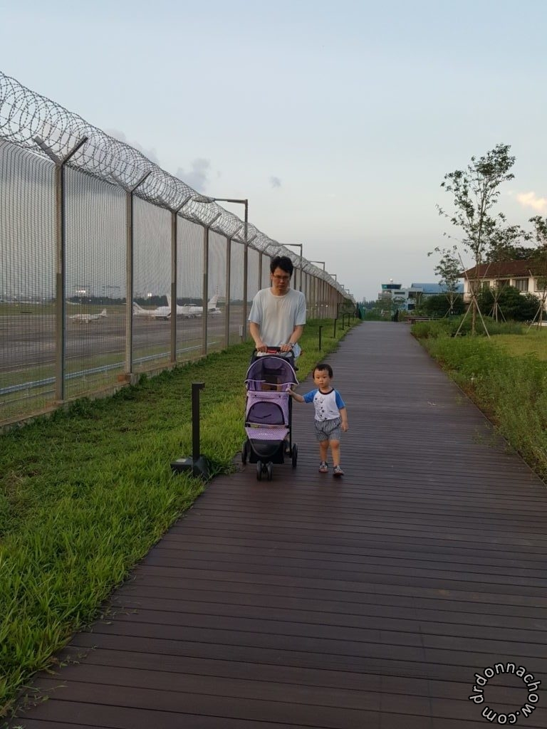 Pushing a dog trolley at Seletar, next to a view of the aeroplanes