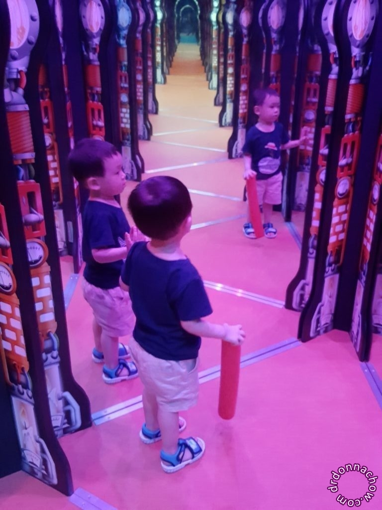 Exploring the mirror maze at Singapore Science Centre