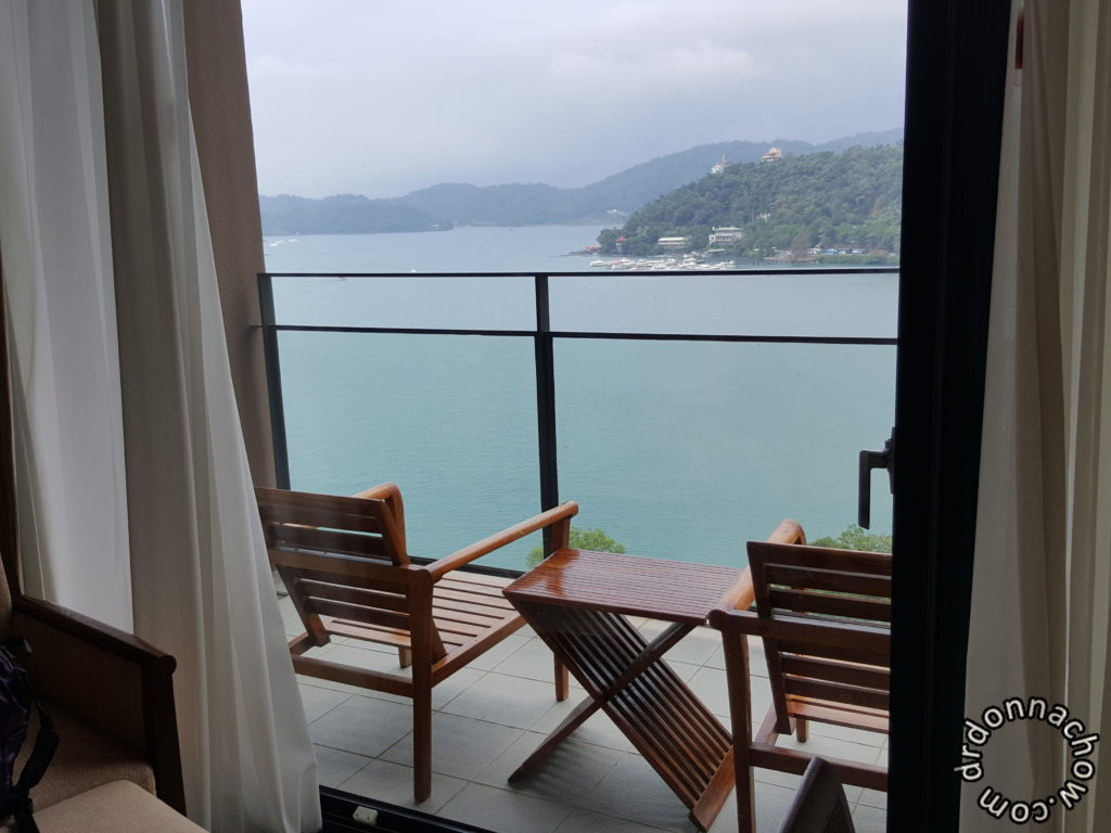Hotel balcony with a view of the Sun Moon Lake
