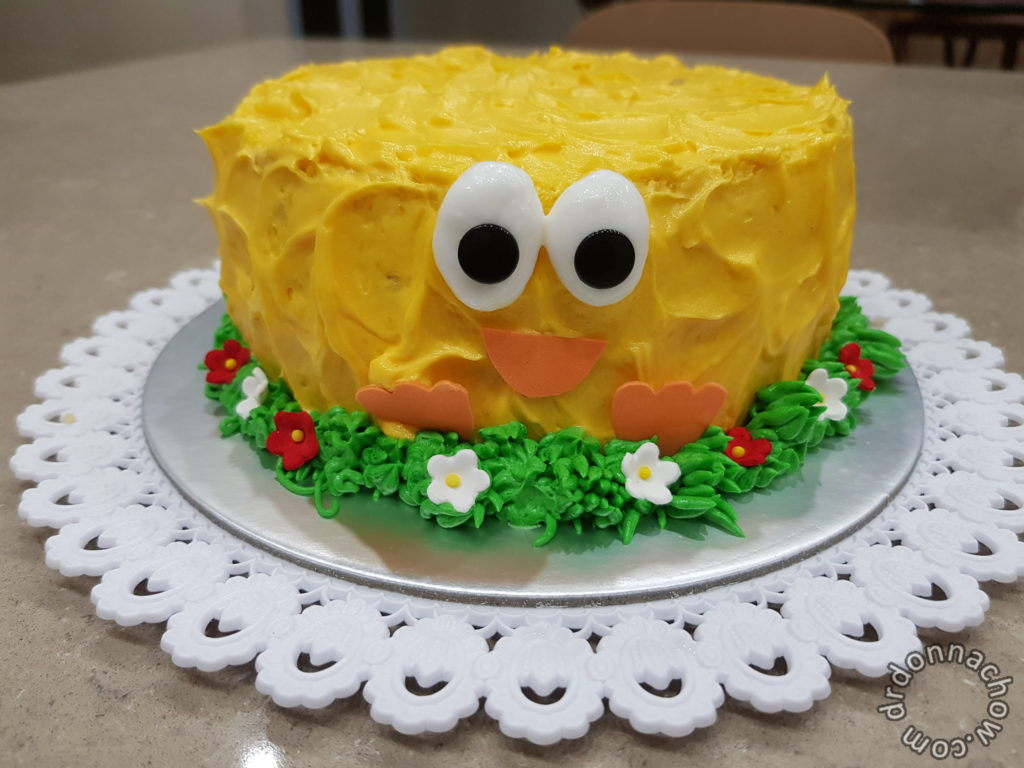 The completed chicken cake