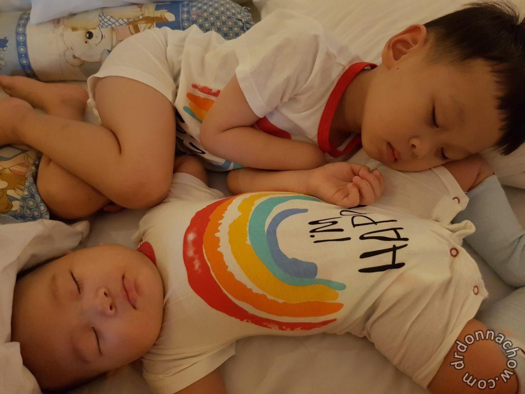 The two boys doze off to slumberland