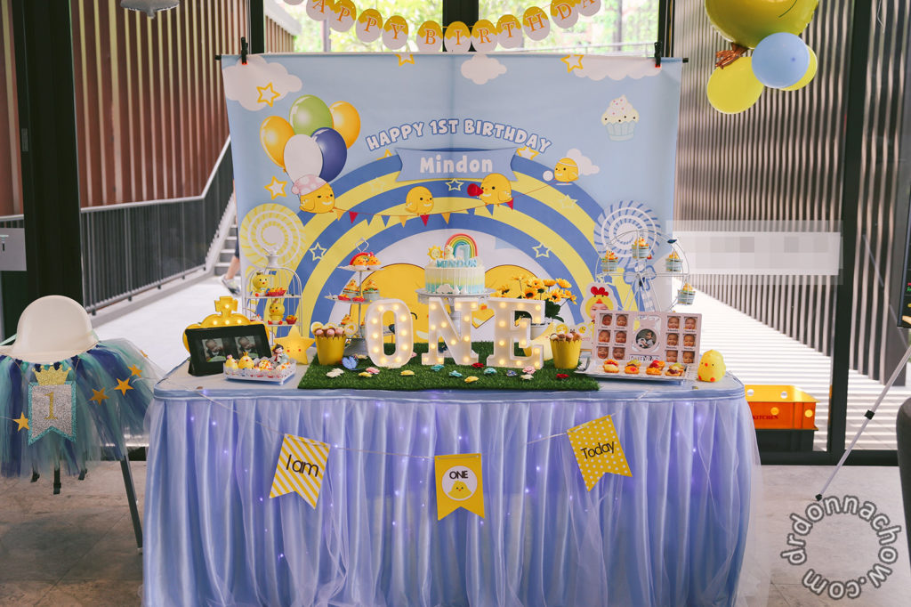 The completed cake table set-up